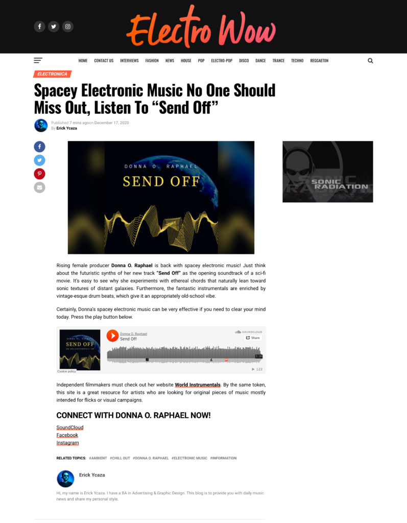 Electro Wow Review of Send Off by Donna O. Raphael