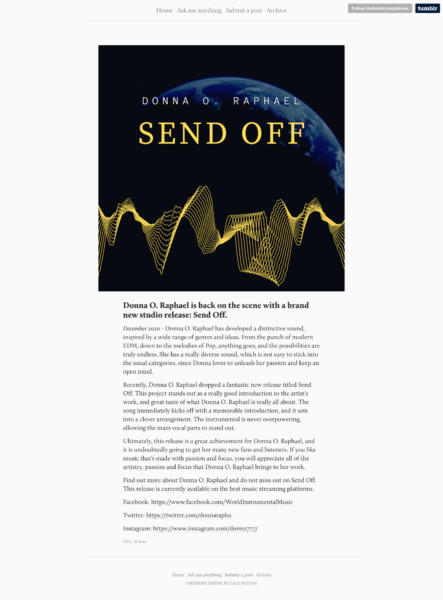 The Band Camp Diaries Review of Send Off by Donna O. Raphael